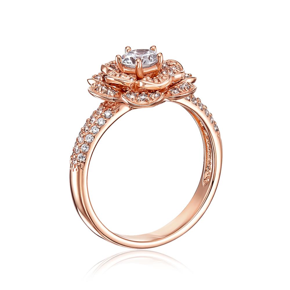 Золотое кольцо с фианитами. Артикул 12935 с