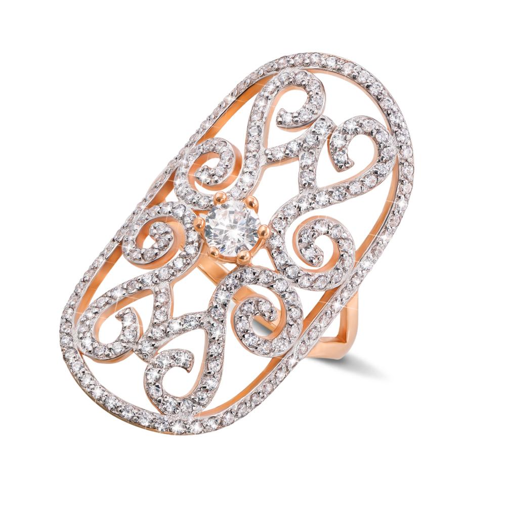 Фаланговое золотое кольцо с фианитами. Артикул 12940