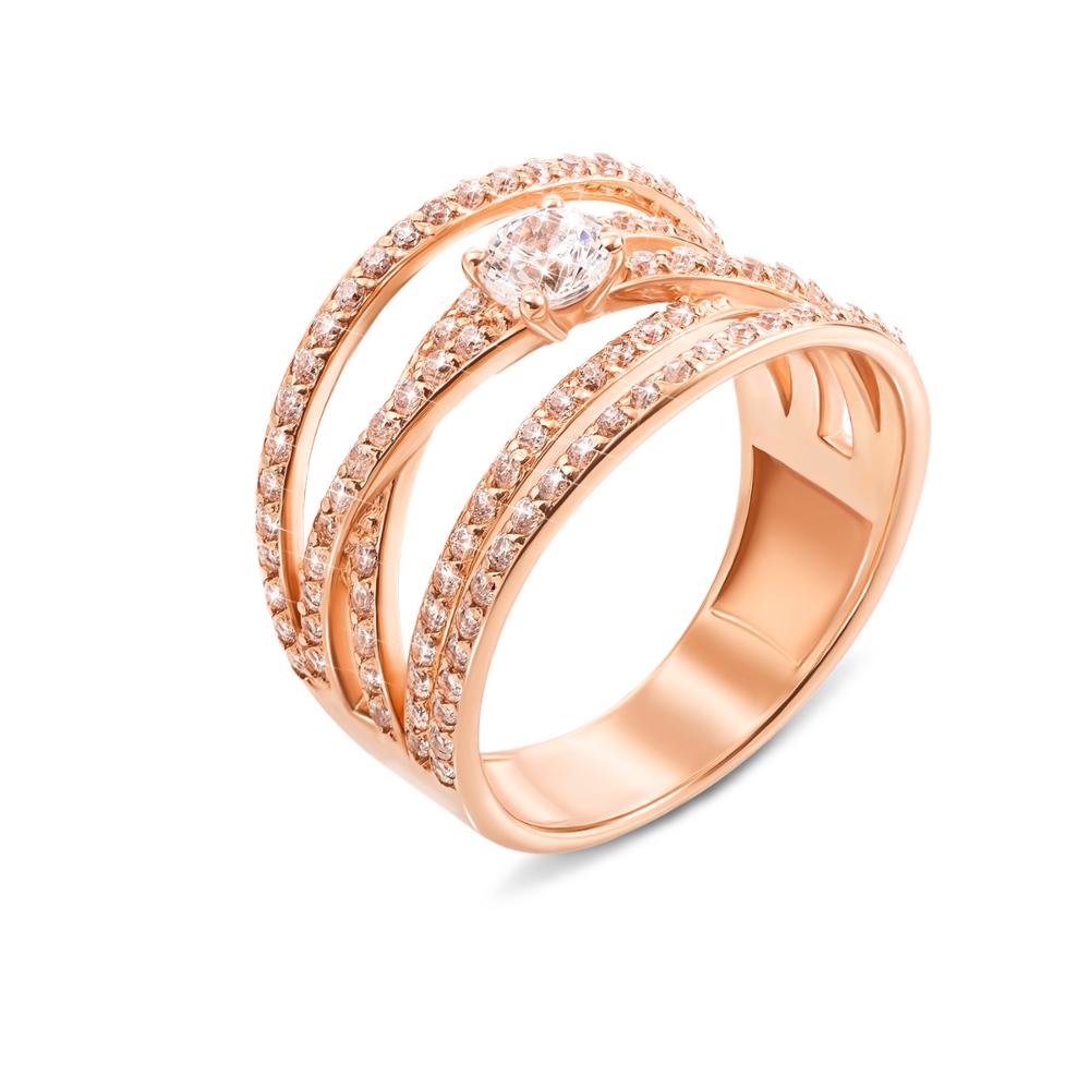 Золотое кольцо с фианитами. Артикул 12941с