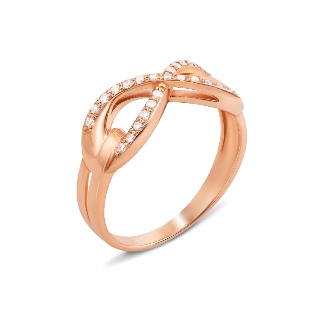 Золотое кольцо «Бесконечность» с фианитами. Артикул 12962