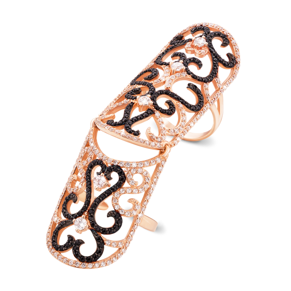 Золотое кольцо-бандаж с фианитами. Артикул 12966/2ч