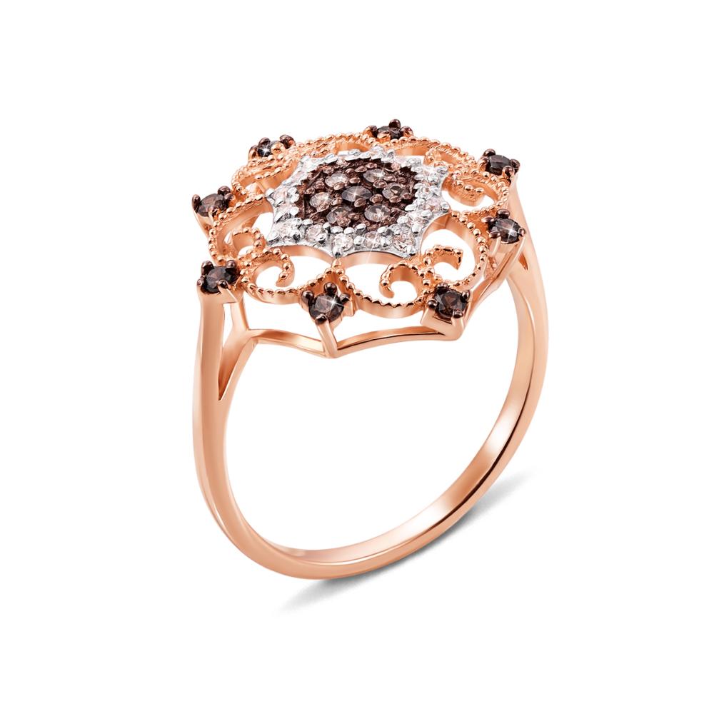 Золотое кольцо с фианитами. Артикул 12967цв сп