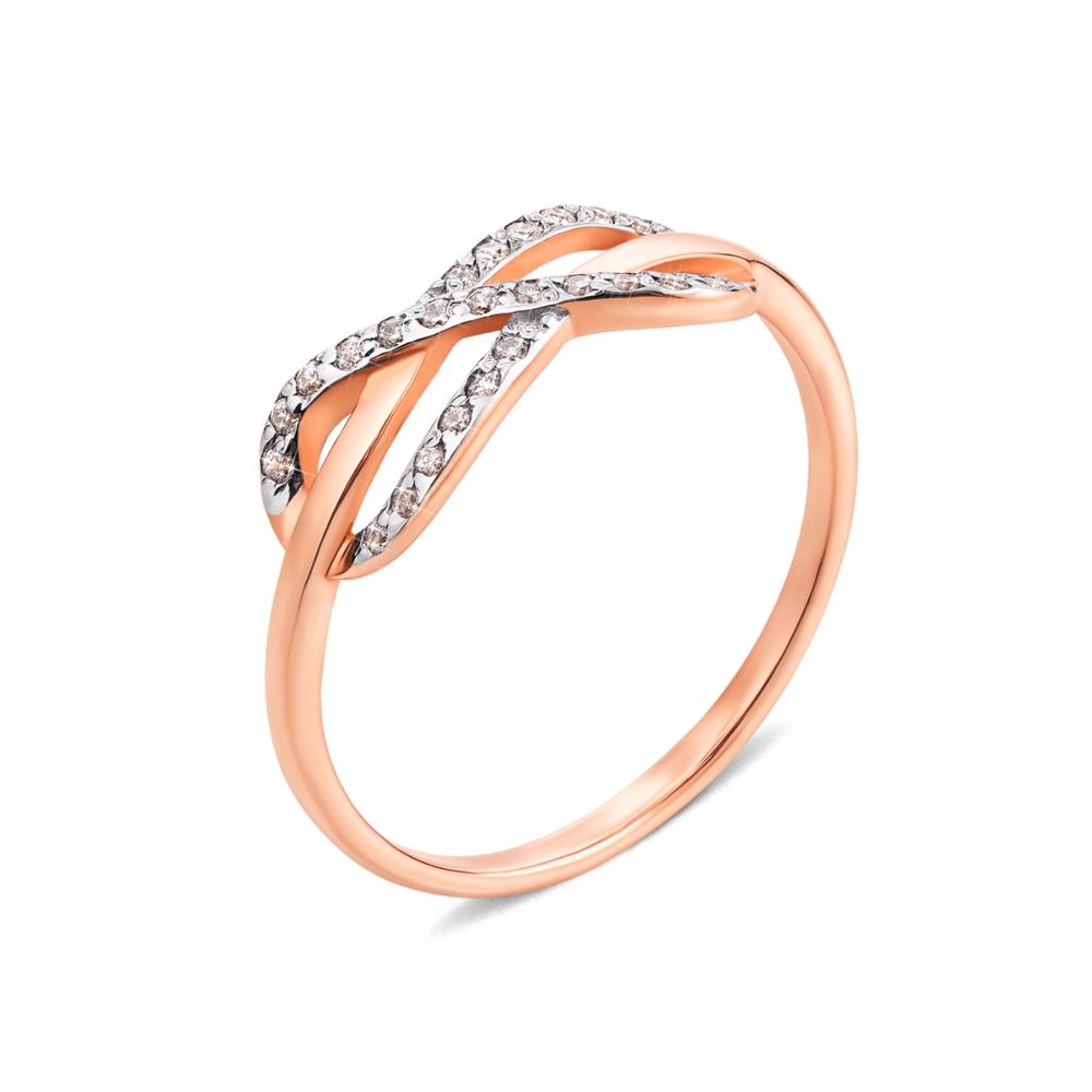 Золотое кольцо «Бесконечность» с фианитами. Артикул 12975