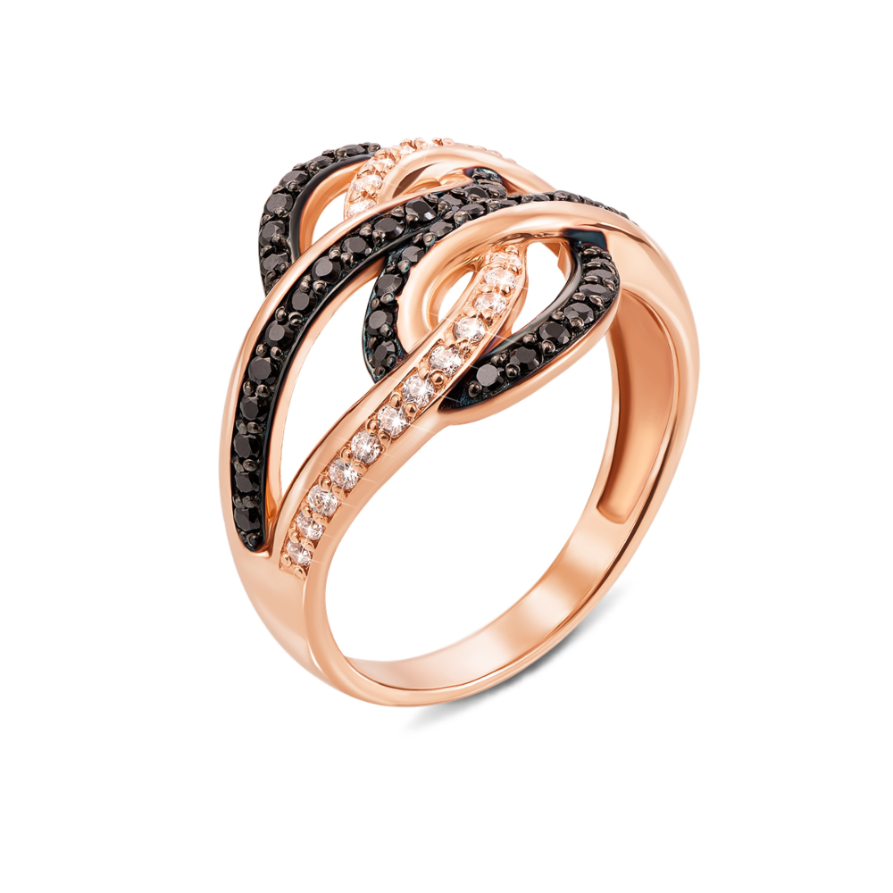 Золотое кольцо с фианитами. Артикул 12983/ч