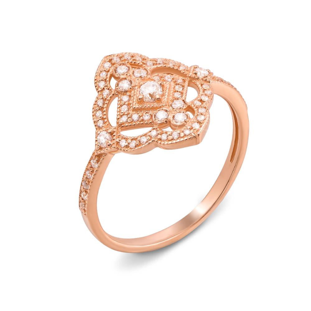 Золотое кольцо с фианитами. Артикул 13082