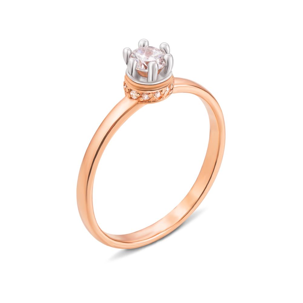 Золотое кольцо с фианитами. Артикул 13011/375