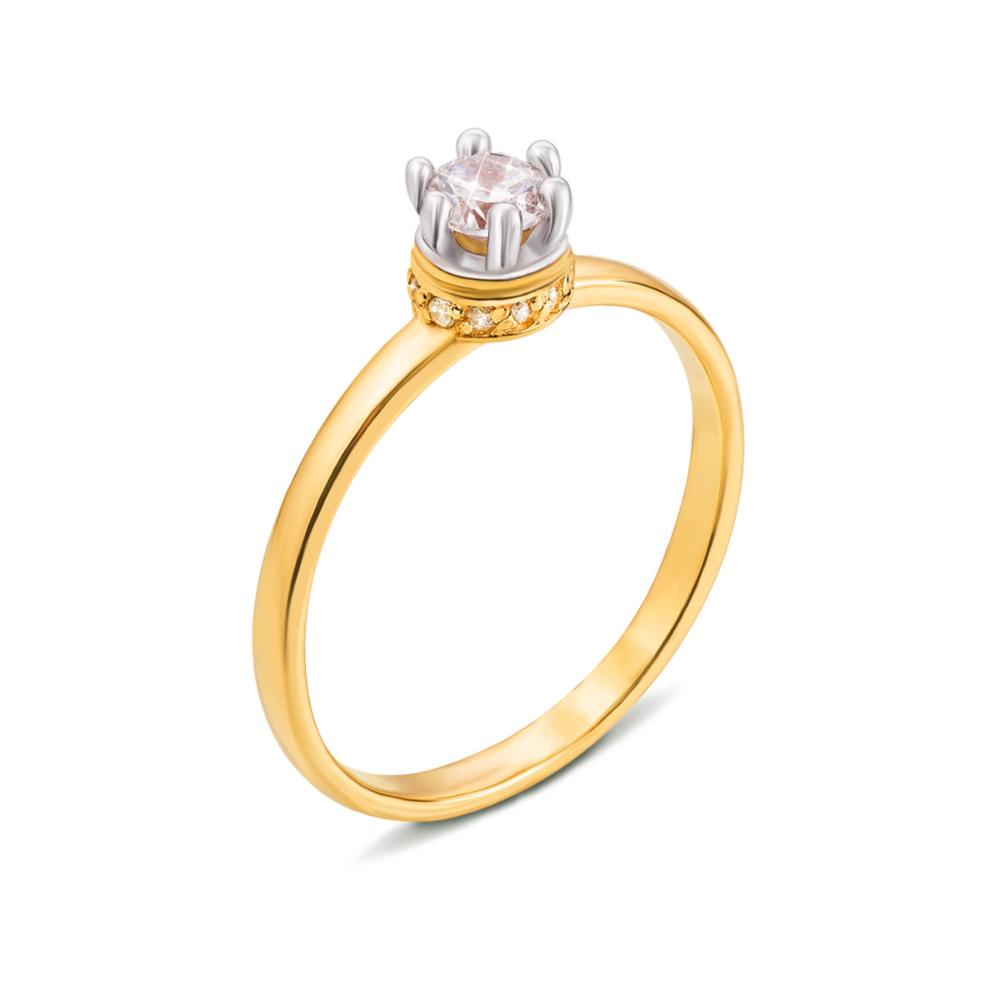 Золотое кольцо с фианитами. Артикул 13011/eu c