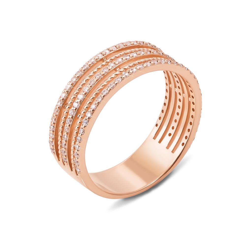 Золотое кольцо с фианитами. Артикул 13016 с