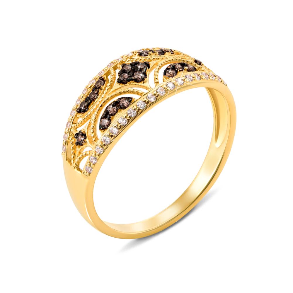Золотое кольцо с фианитами. Артикул 13025/eu цв
