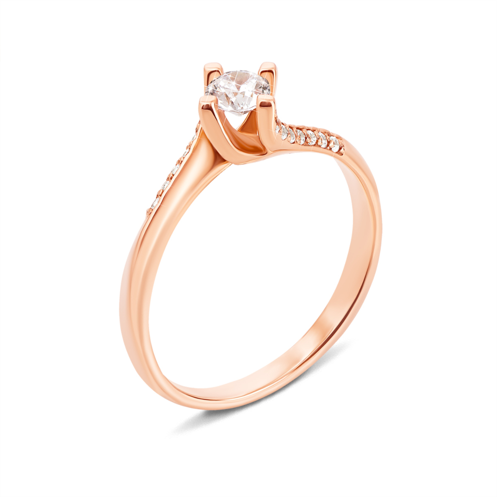 Золотое кольцо с фианитами. Артикул 13030 с