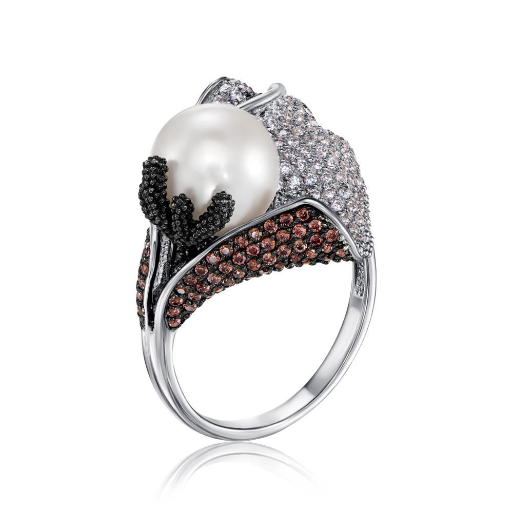 Золотое кольцо с жемчужиной и фианитами. Артикул 13034/б ч