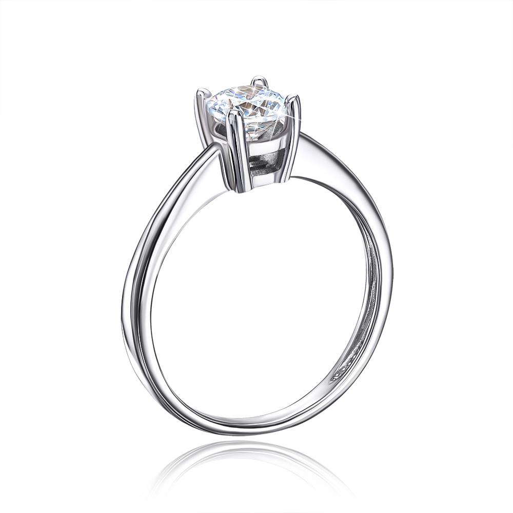 Золотое кольцо с фианитом Swarovski Zirconia. Артикул 13045/02/1/21 (13045/б SW)