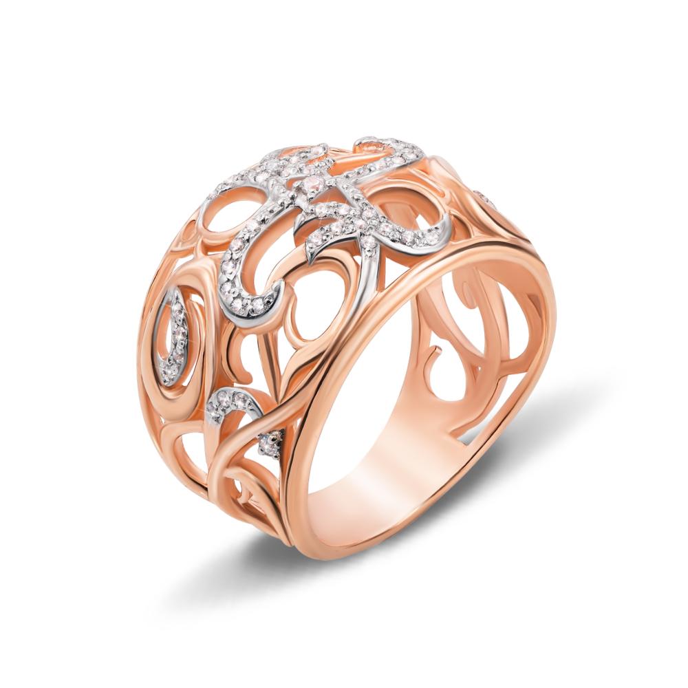 Золотое кольцо с фианитами. Артикул 13066