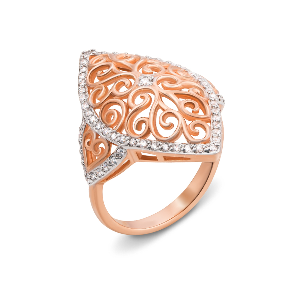 Золотое кольцо с фианитами. Артикул 13070 сп