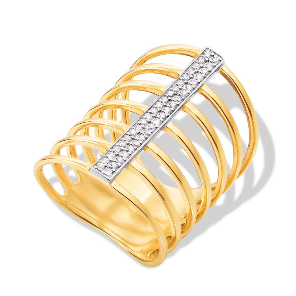 Фалангова золота каблучка з фіанітами. Артикул 13072/eu