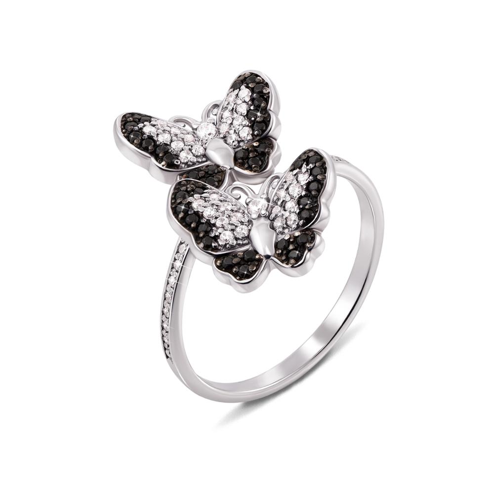 Золотое кольцо «Бабочки» с фианитами. Артикул 13085/б ч п
