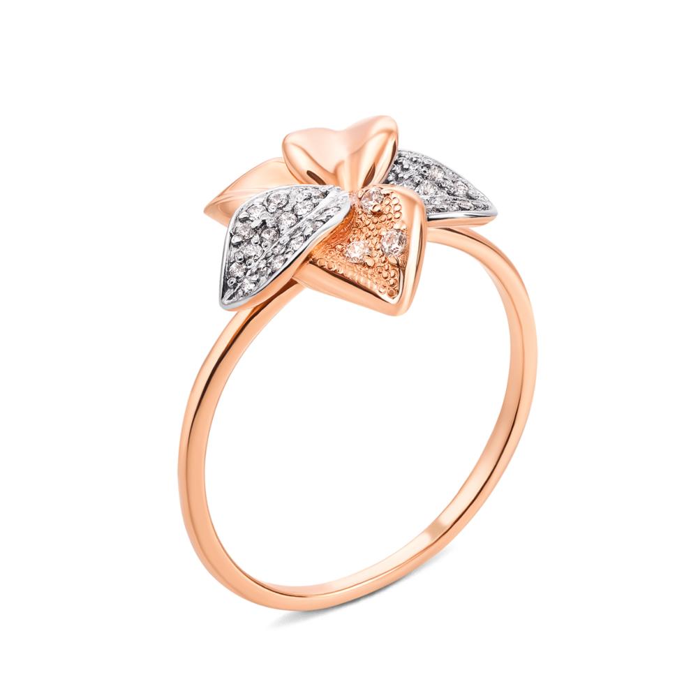 Золотое кольцо с фианитами. Артикул 13086