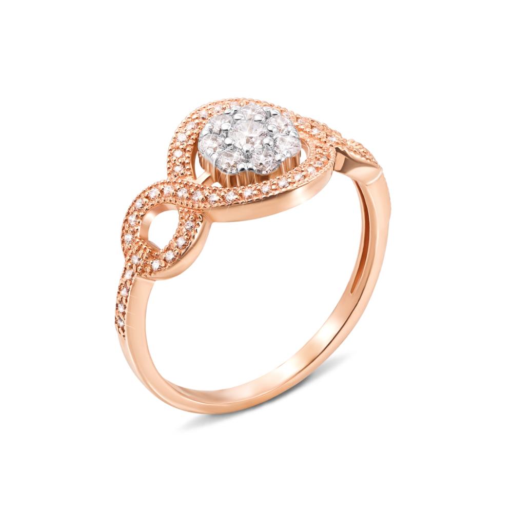 Золотое кольцо с фианитами. Артикул 13089