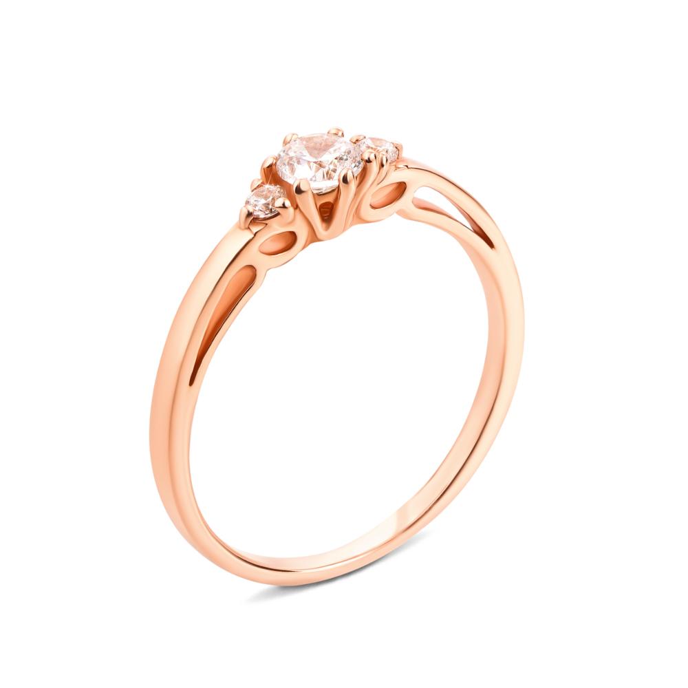 Золотое кольцо с фианитами. Артикул 13094