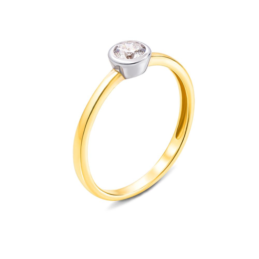 Золотое кольцо с фианитом. Артикул 13100/eu