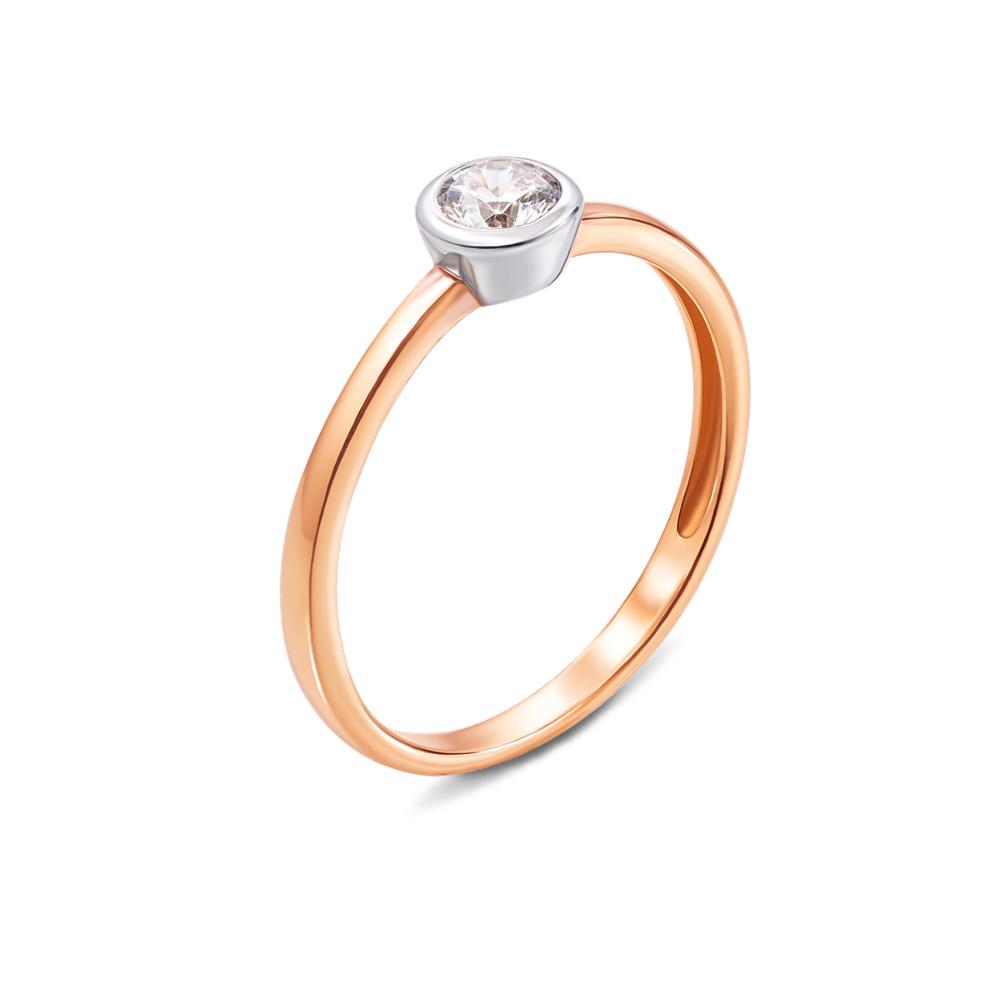 Золотое кольцо с фианитом. Артикул 13100