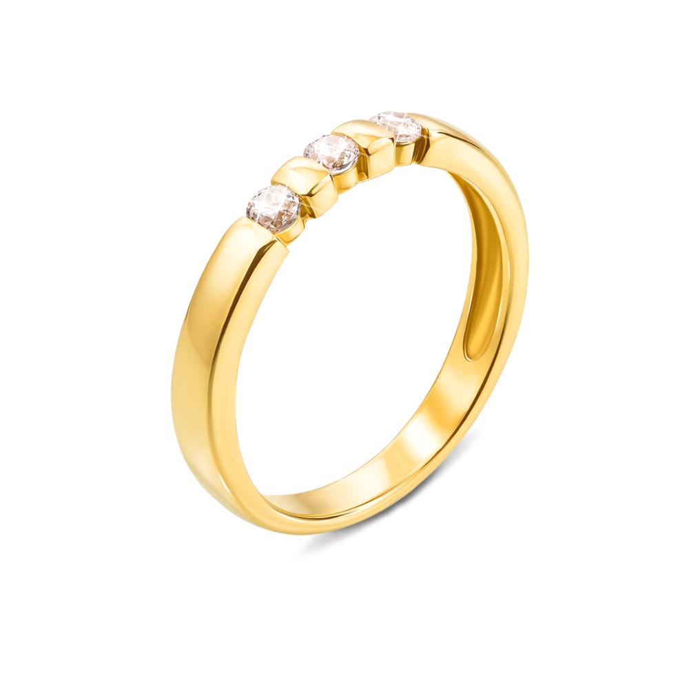 Золота каблучка з фіанітами. Артикул 13102/eu