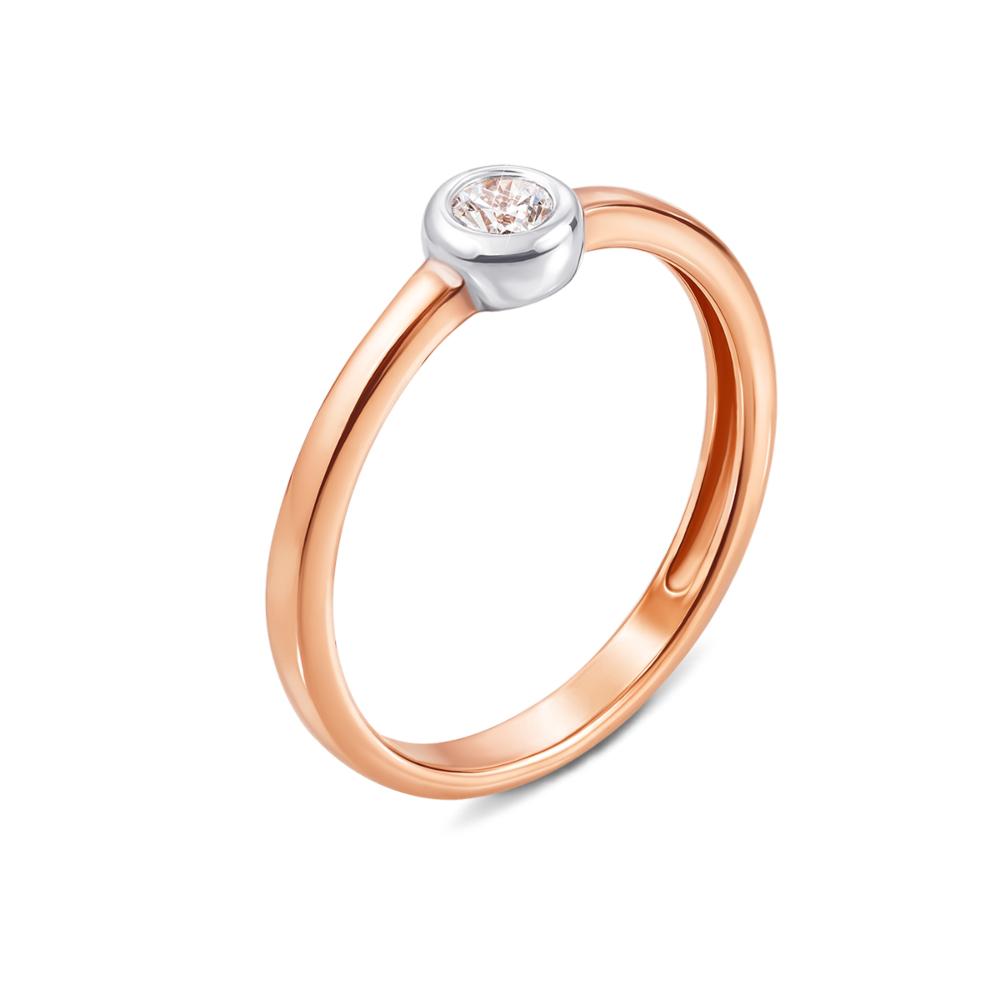 Золотое кольцо с фианитом Swarovski Zirconia. Артикул 13108/SW
