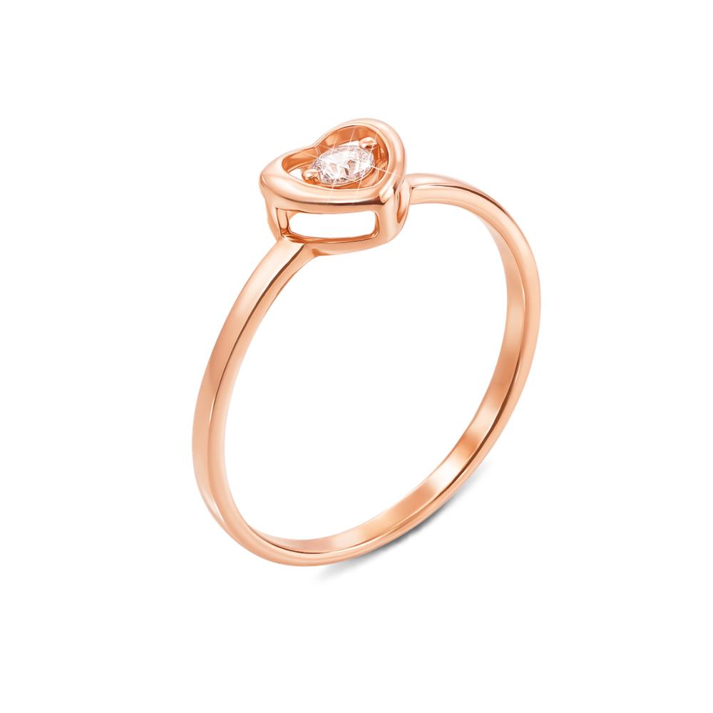 Золотое кольцо с фианитом. Артикул 13121