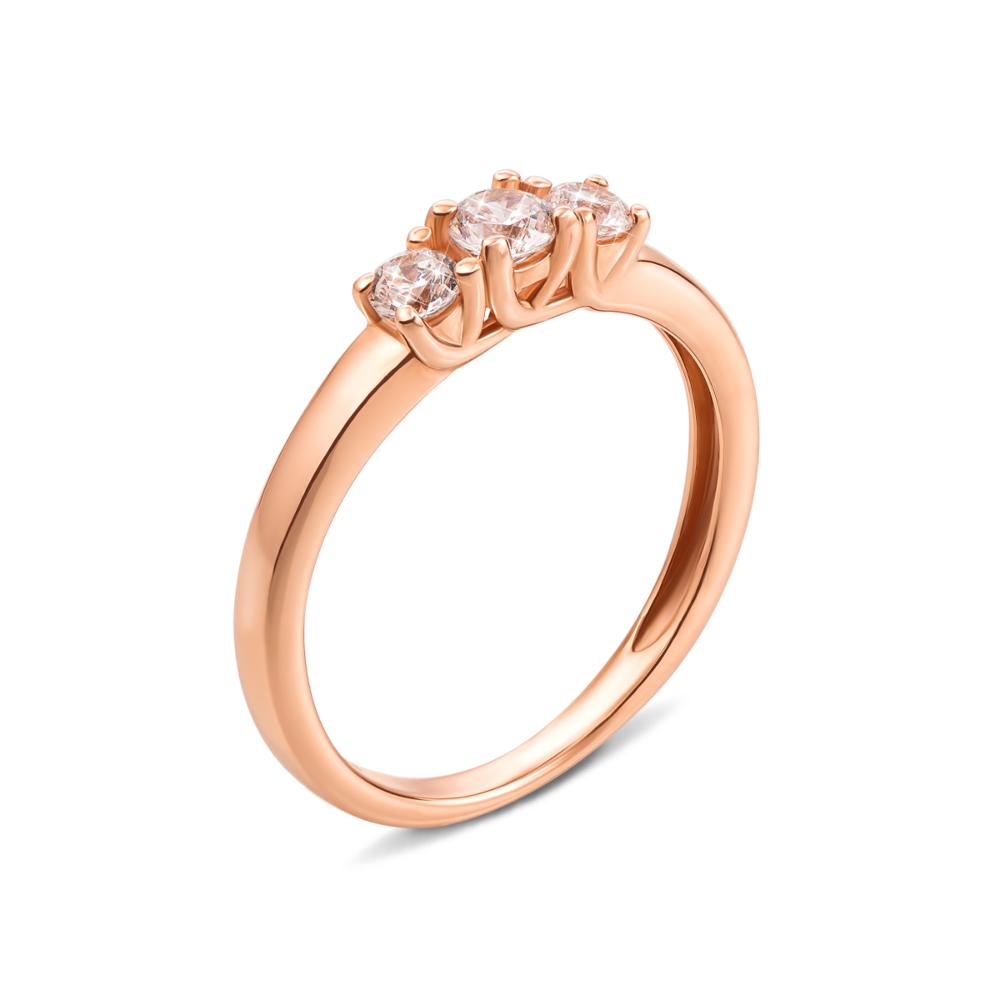 Золотое кольцо с фианитами. Артикул 13124