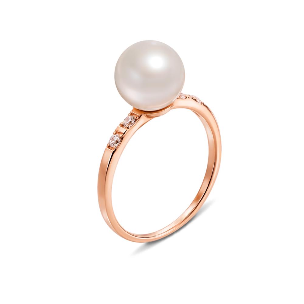 Золотое кольцо с жемчужиной и фианитами. Артикул 13129/01/0/425
