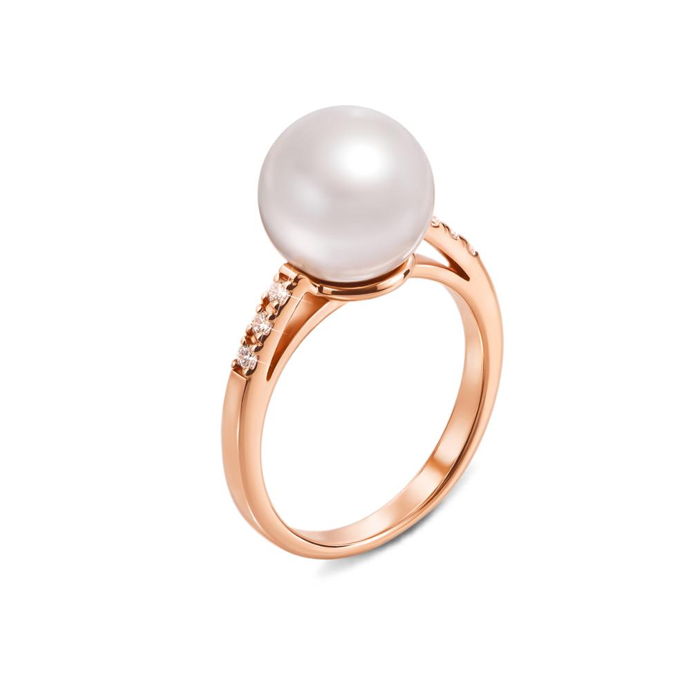 Золотое кольцо с жемчугом и фианитами. Артикул 13134/01/0/485