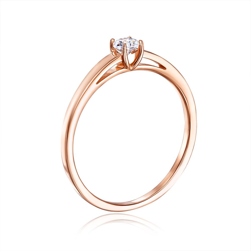 Золотое кольцо с фианитом. Артикул 13139/01/0/28