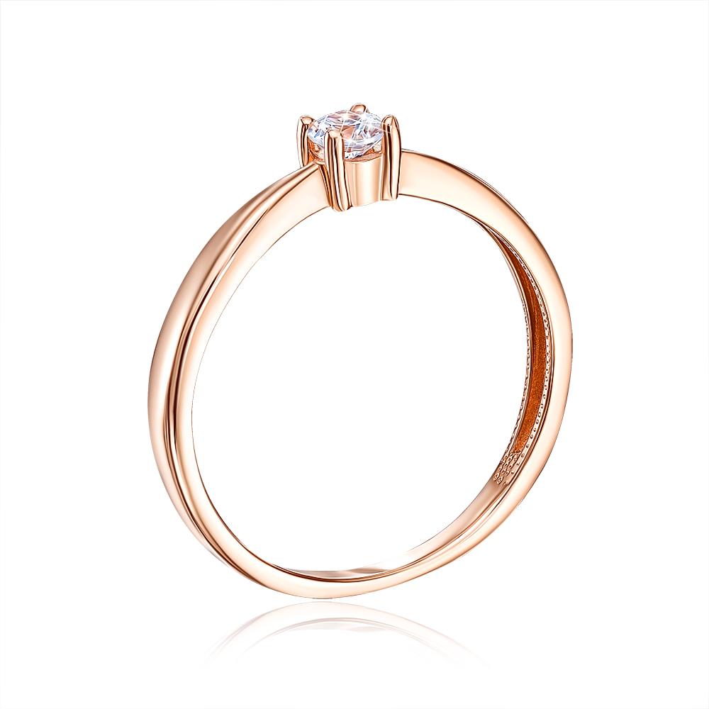 Золотое кольцо с фианитом. Артикул 13143/01/0/53