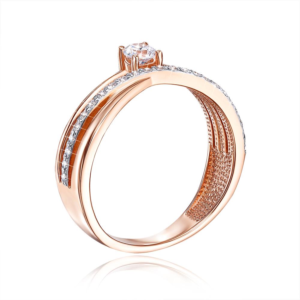 Золотое кольцо с фианитами. Артикул 13152/01/1/142
