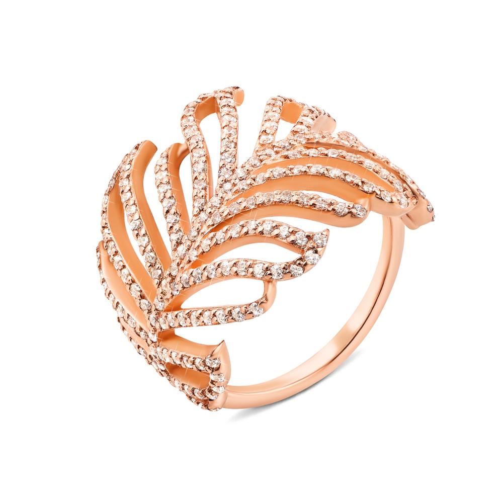 Золотое кольцо с фианитами. Артикул 13164/01/0/42