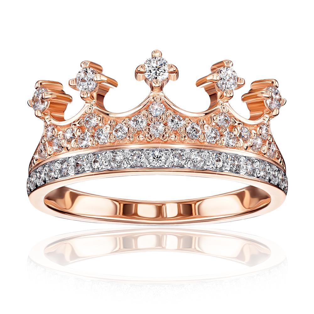 Золотое кольцо «Корона» с фианитами. Артикул 13178/01/1/161