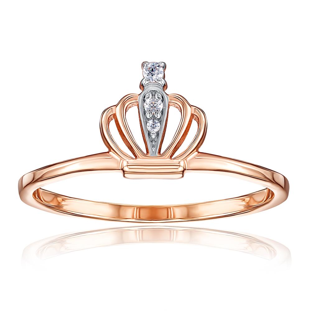 Золотое кольцо «Корона» с фианитами. Артикул 13197/01/1/75