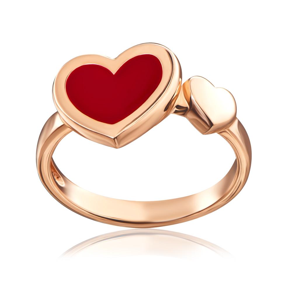 Золота каблучка «Серце» з емаллю. Артикул 13210/01/0/392