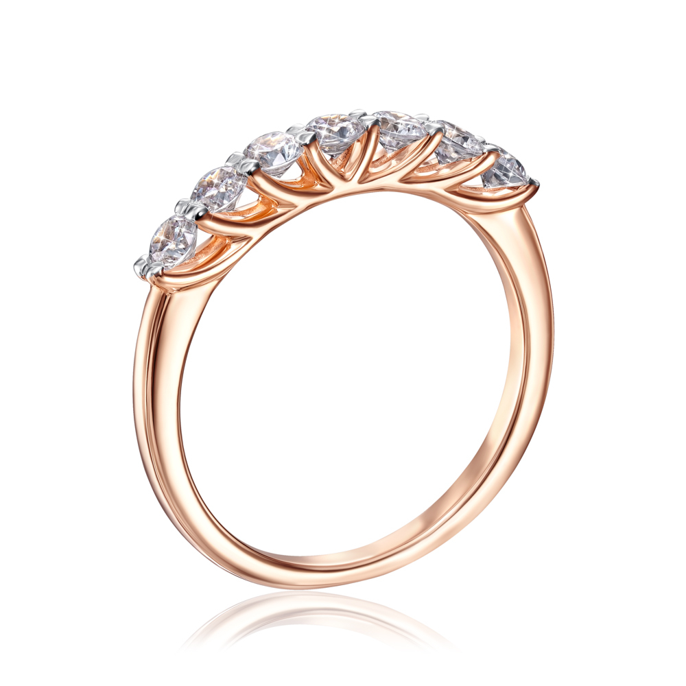 Золотое кольцо с фианитами. Артикул 13237/01/1/52