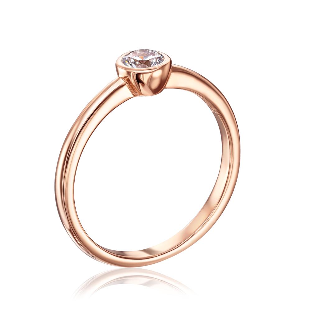 Золотое кольцо с фианитом Swarovski. Артикул 13242/01/0/71
