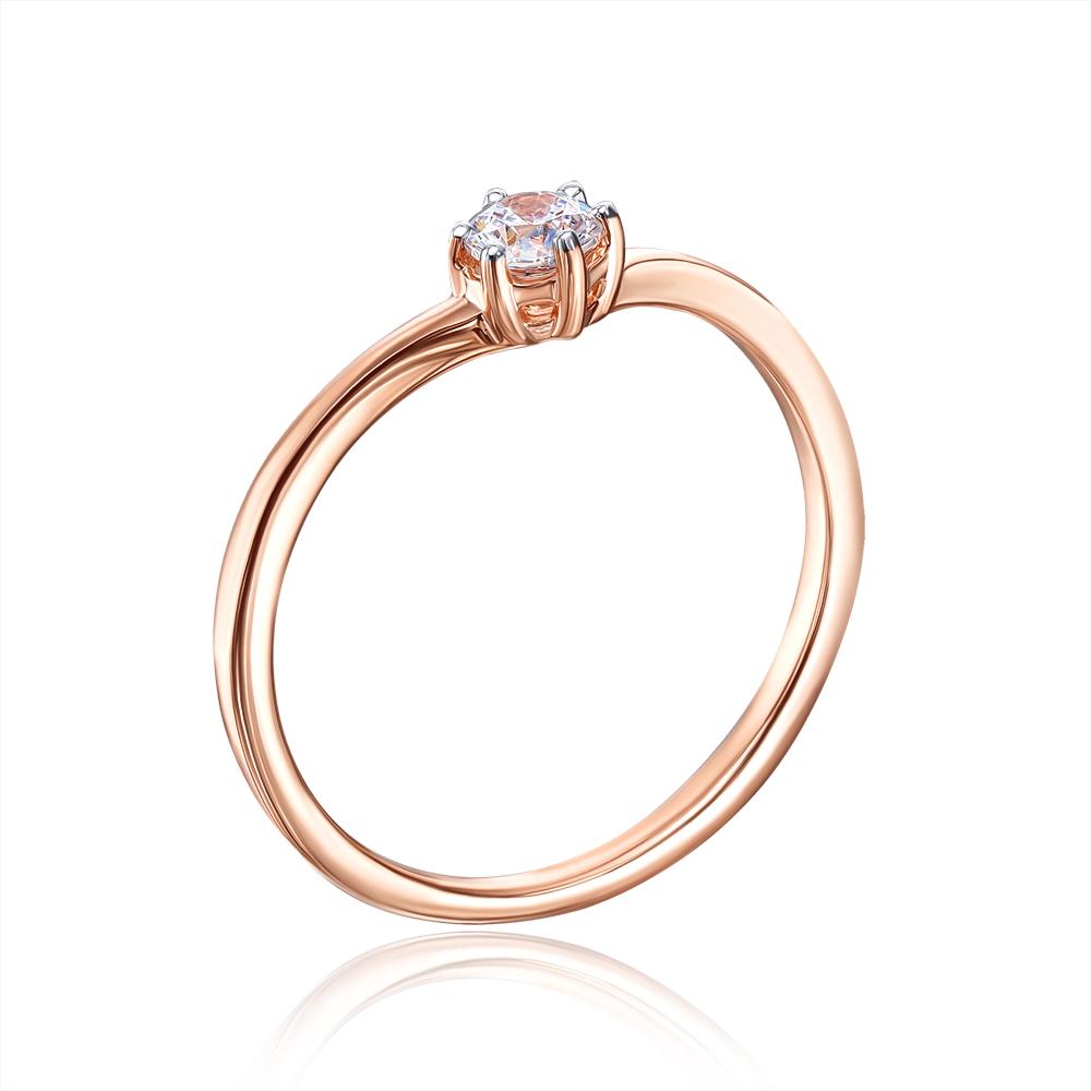 Золотое кольцо с фианитом Swarovski. Артикул 13265/01/1/31