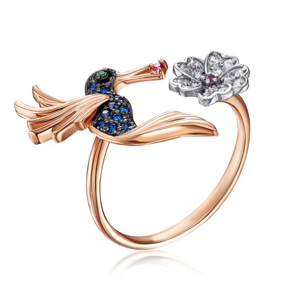 Золотое кольцо «Колибри» с фианитами. Артикул 13301/01/1/1819