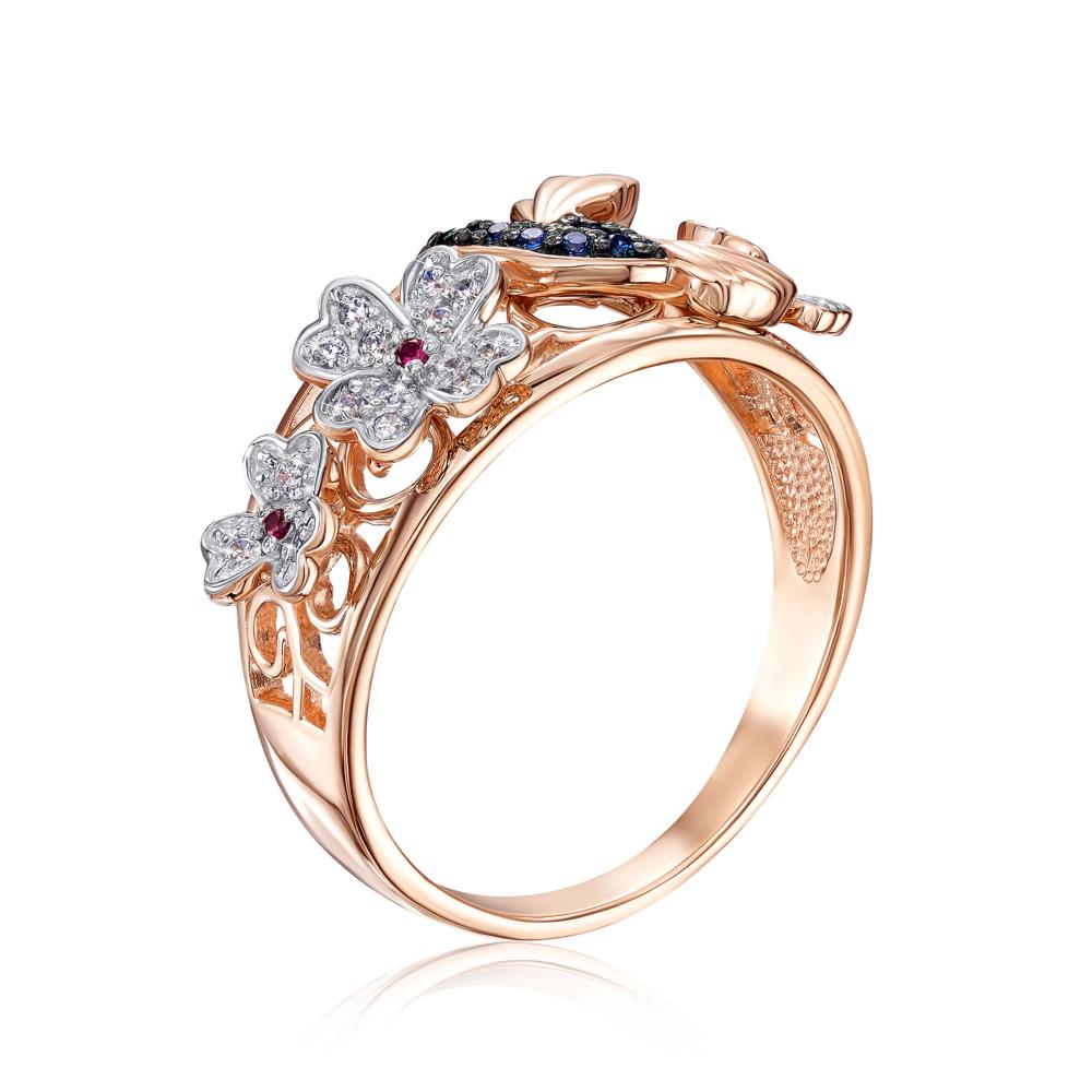 Золотое кольцо «Колибри» с фианитами. Артикул 13340/01/1/1819