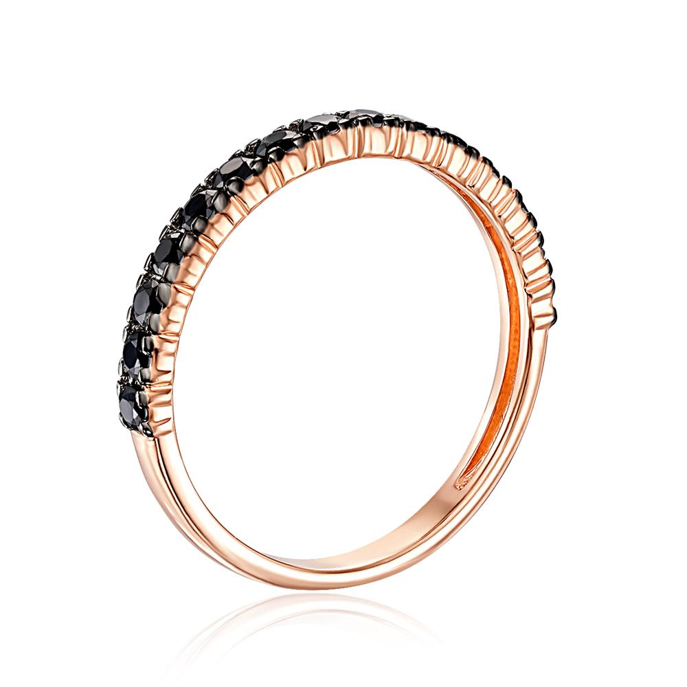 Золотое кольцо с черными фианитами. Артикул 13346/01/1/583