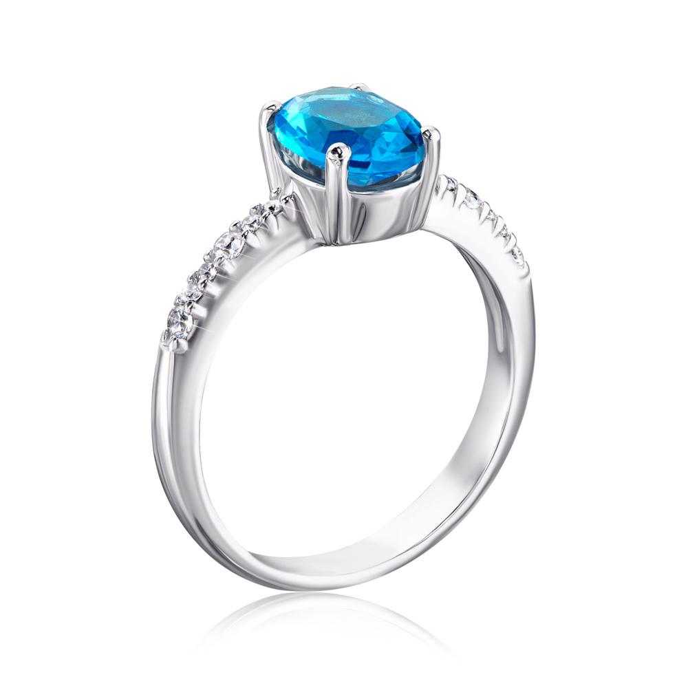 Серебряное кольцо с кварцем и фианитами. Артикул 1339/1р-QSWB