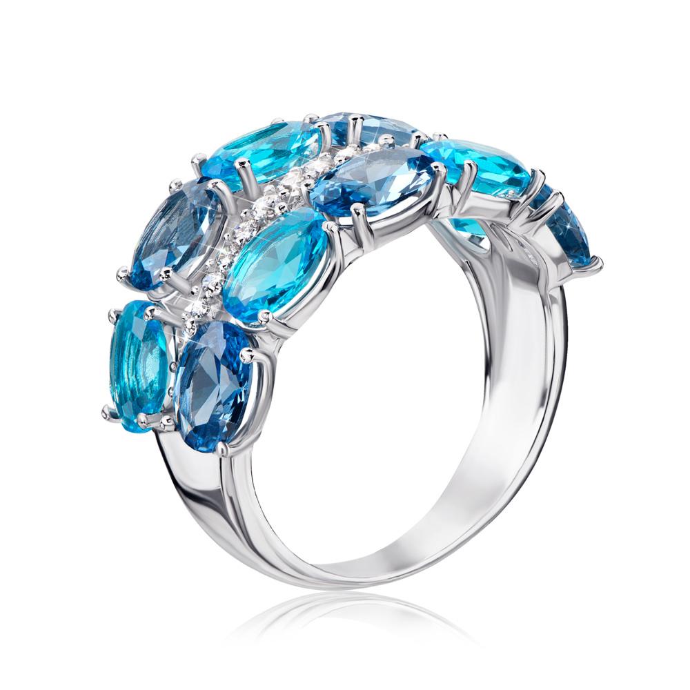 Срібна каблучка з кварцем London blue і фіанітами. Артикул 1363/1р