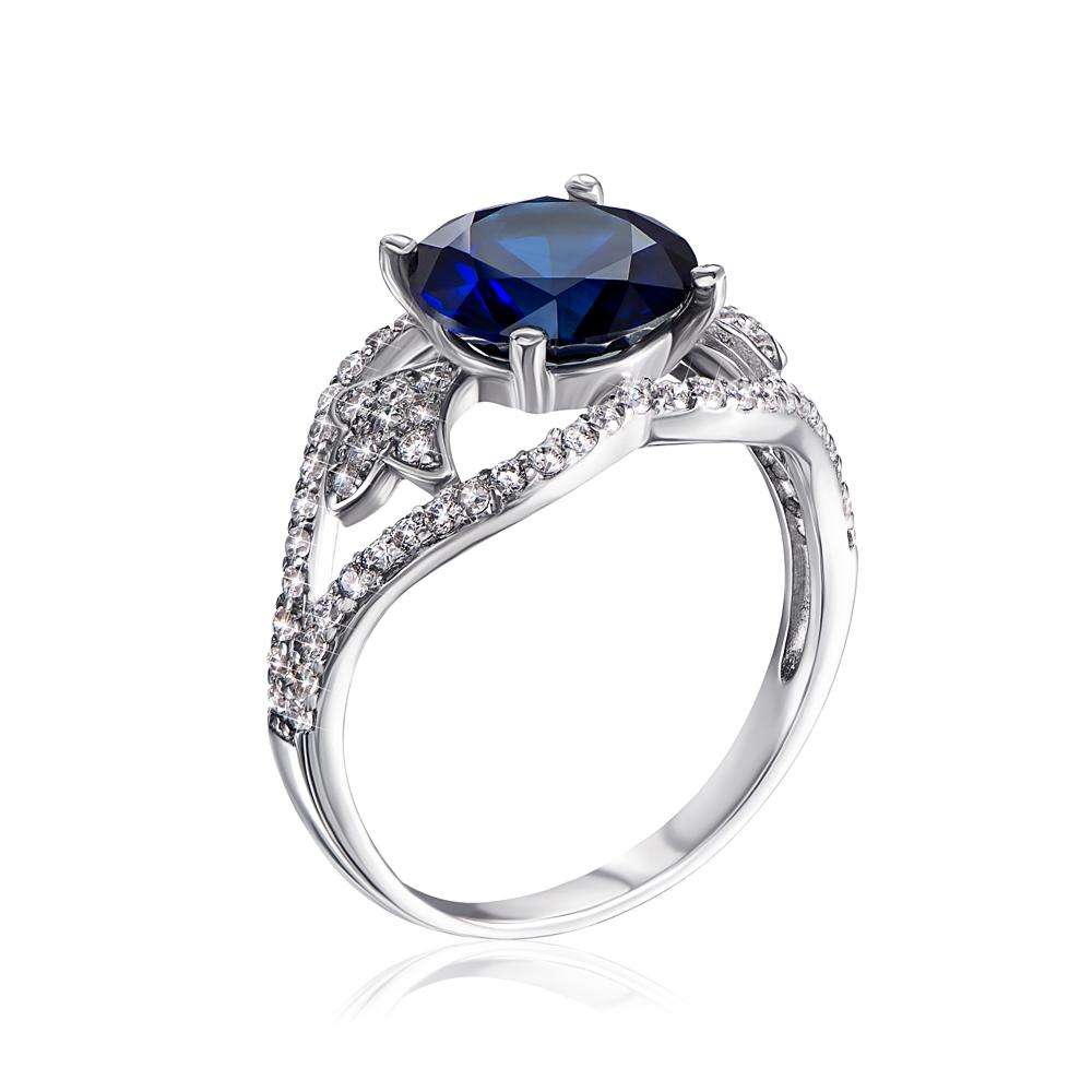 Серебряное кольцо с сапфиром и фианитами. Артикул 1368/1р-HSPH