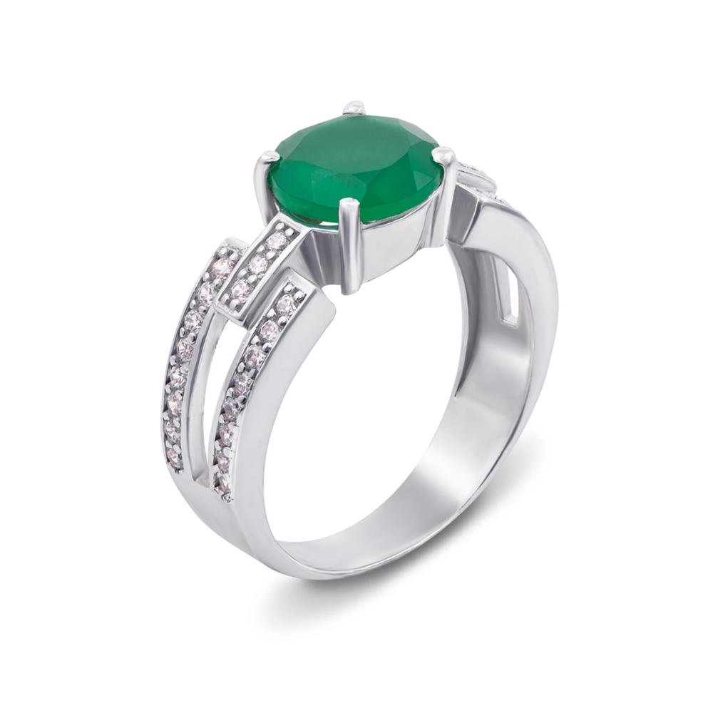 Серебряное кольцо с зеленым агатом и фианитами. Артикул 1612/9р