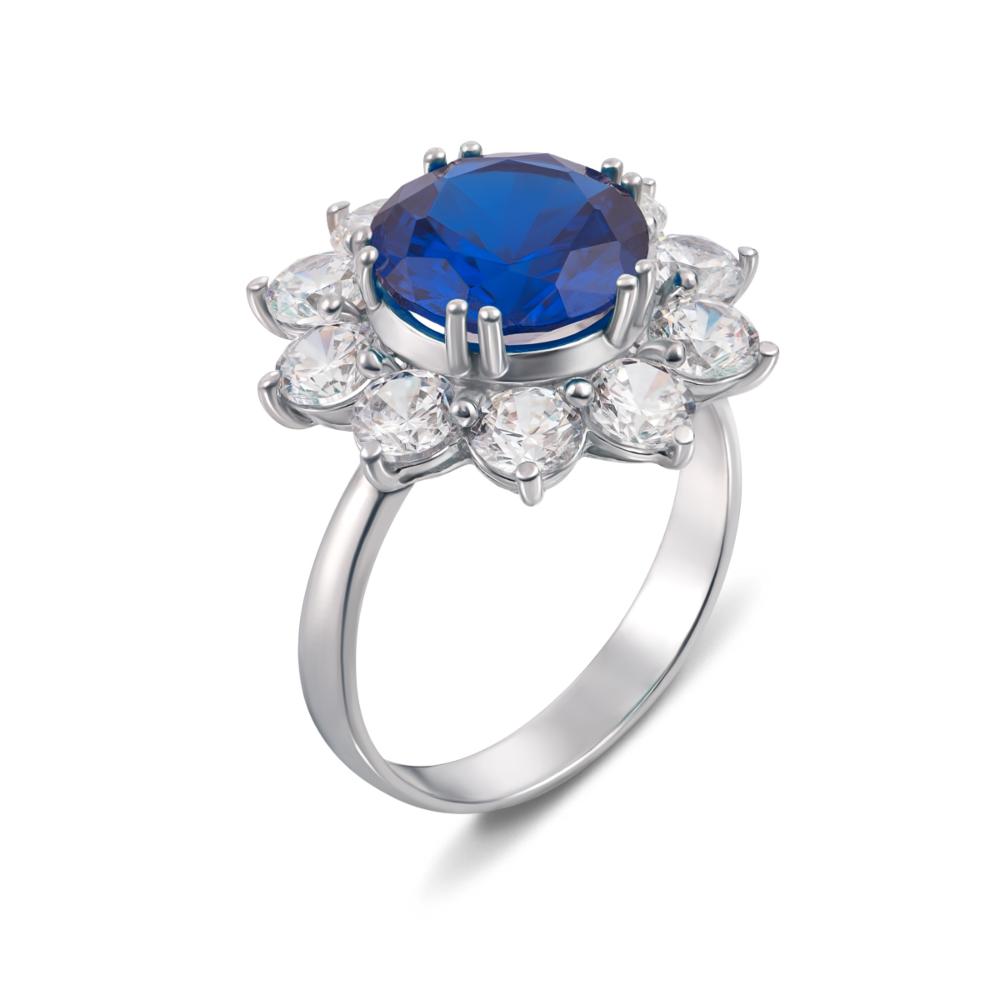 Серебряное кольцо с гидротермальным сапфиром и фианитами. Артикул 1622/9р