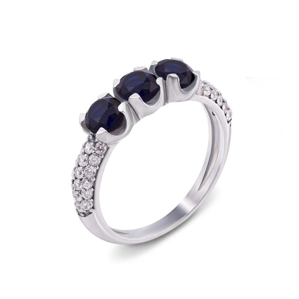 Серебряное кольцо с гидротермальным сапфиром и фианитами. Артикул 1631/9р